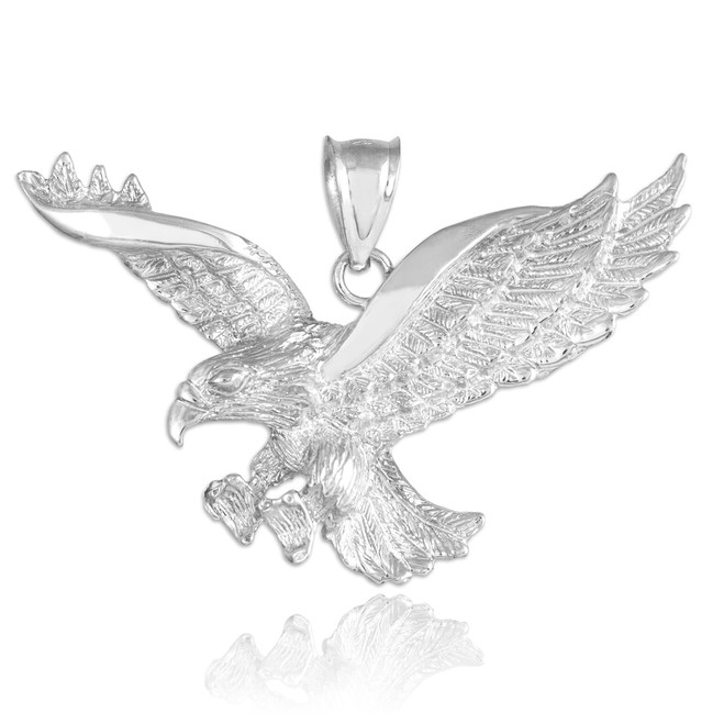 White Gold Flying Eagle Pendant
