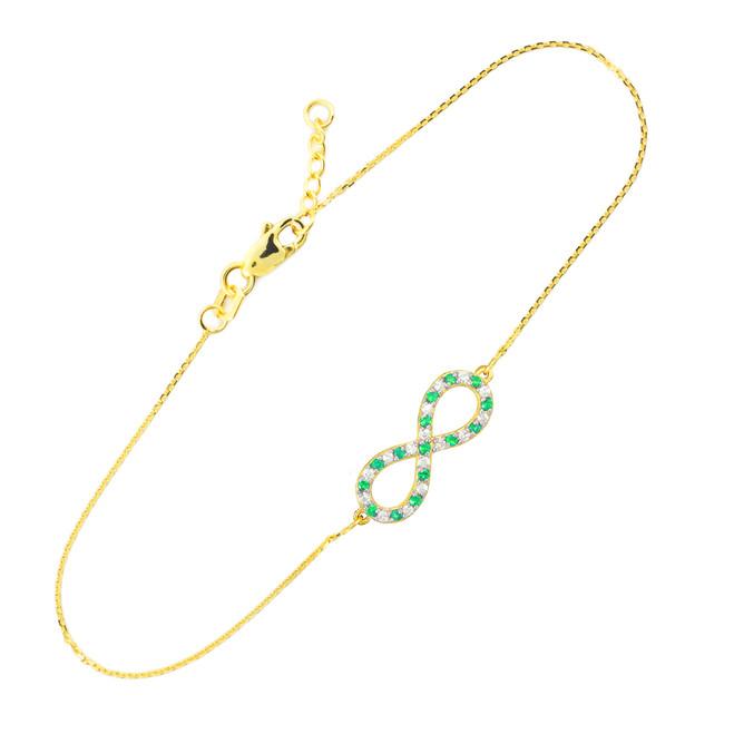14K Gold Clear & Green CZ Infinity Bracelet