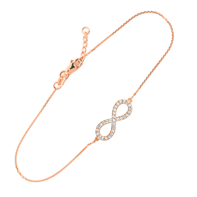 14K Rose Gold Diamond Infinity Pendant Bracelet