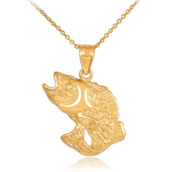 Gold Sea Bass Pendant Necklace