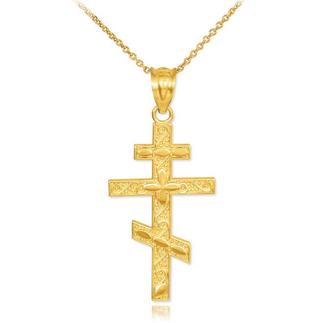 Gold Russian Orthodox Cross Pendant Necklace