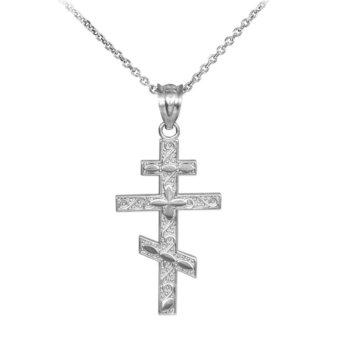 White Gold Russian Orthodox Cross Pendant Necklace