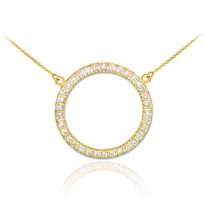 14K Gold Eternity Circle of Life Diamond Necklace
