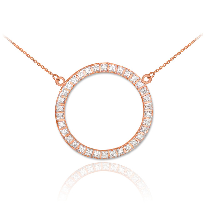 14K Rose Gold Eternity Circle of Life Diamond Necklace