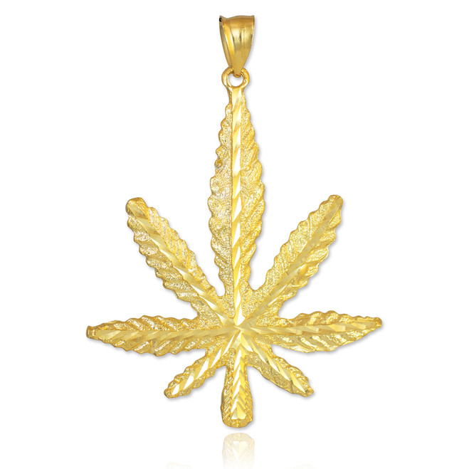 Gold Marijuana Leaf Cannabis Pendant