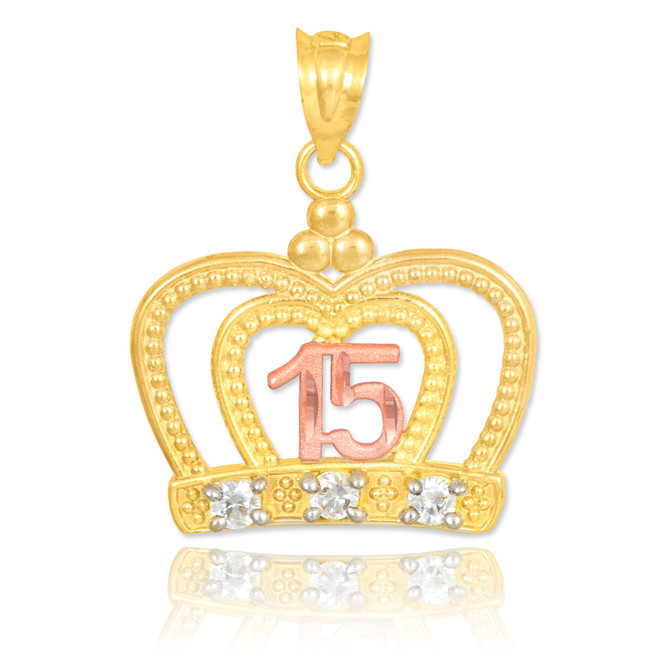 Two-tone Quinceanera Imperial Crown CZ Pendant
