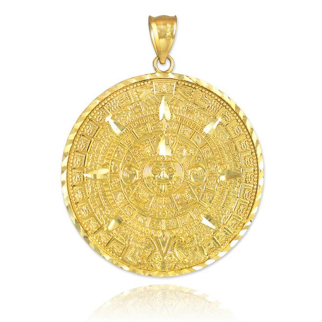 Gold Aztec Mayan Sun Calendar Pendant | Solid Gold Aztec Pendant | Gold Aztec Calendar Pendant | 10kt Aztec Gold Pendant | 14kt Gold Aztec Pendant