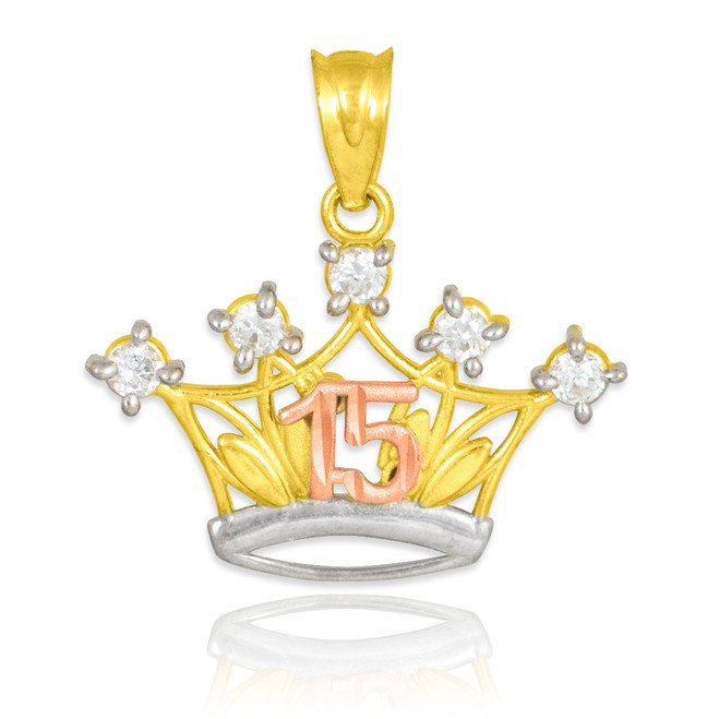 Tri-tone Gold Quinceanera Crown CZ Pendant