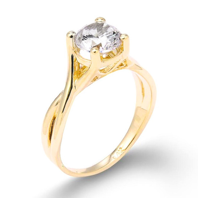 Yellow Gold 2.50 ct CZ Solitaire Infinity Band Proposal Engagement Ring