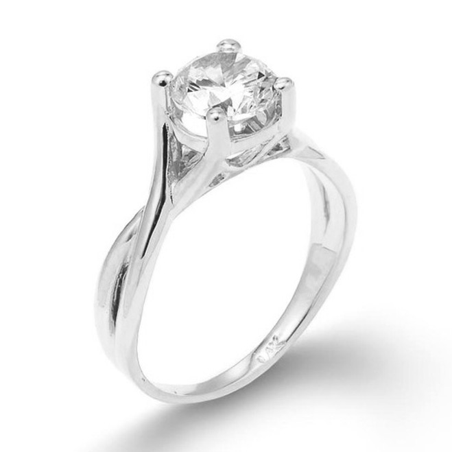 White Gold 2.50 ct CZ Solitaire Infinity Band Proposal Engagement Ring