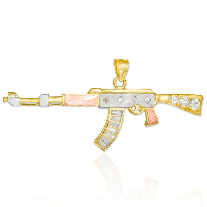 Tri-tone AK-47 Rifle CZ Pendant