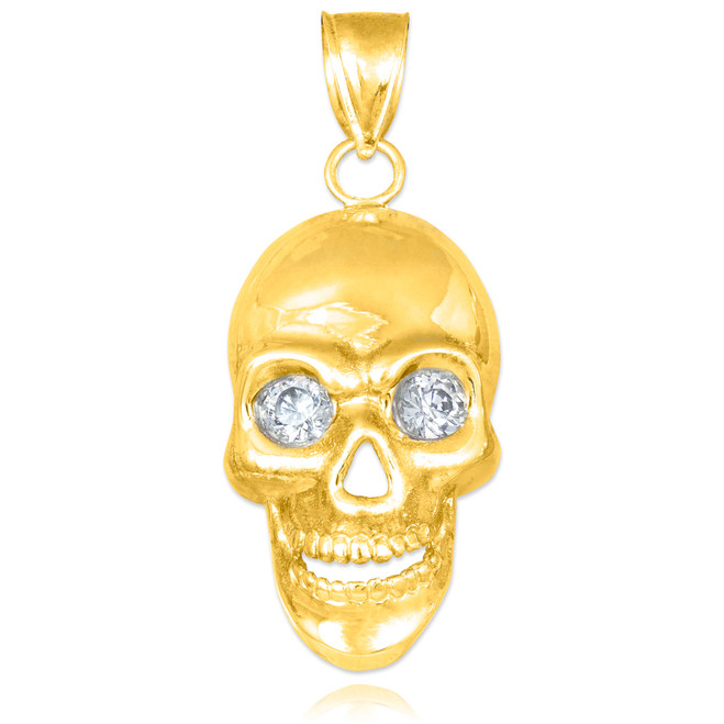 Gold Skull Pendant with Clear CZ Eyes