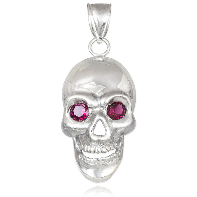 Silver Skull Pendant with Red CZ Eyes