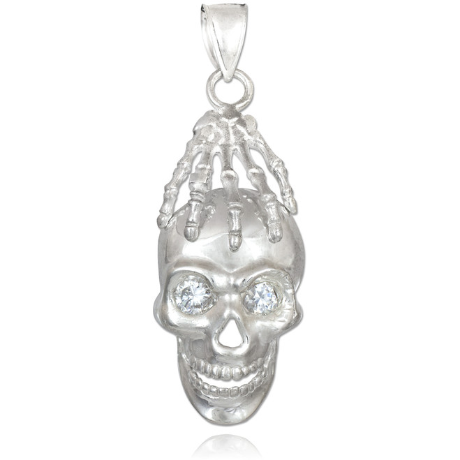 White Gold Skull and Hand Clear CZ Eyes Pendant