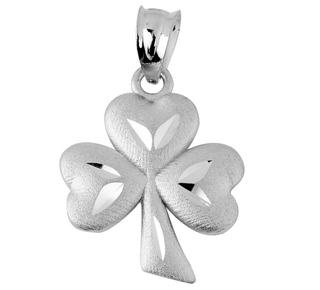 Clover Leaf Celtic White Gold Pendant