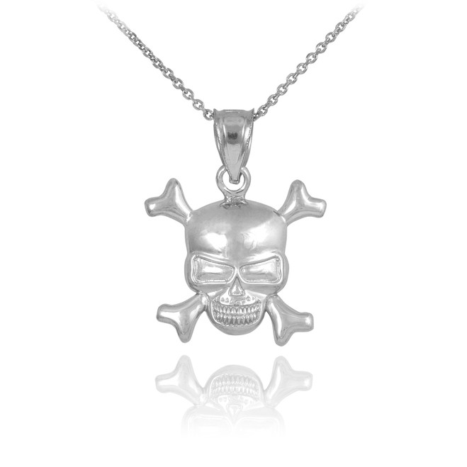 Sterling Silver Skull and Bones Pendant Necklace