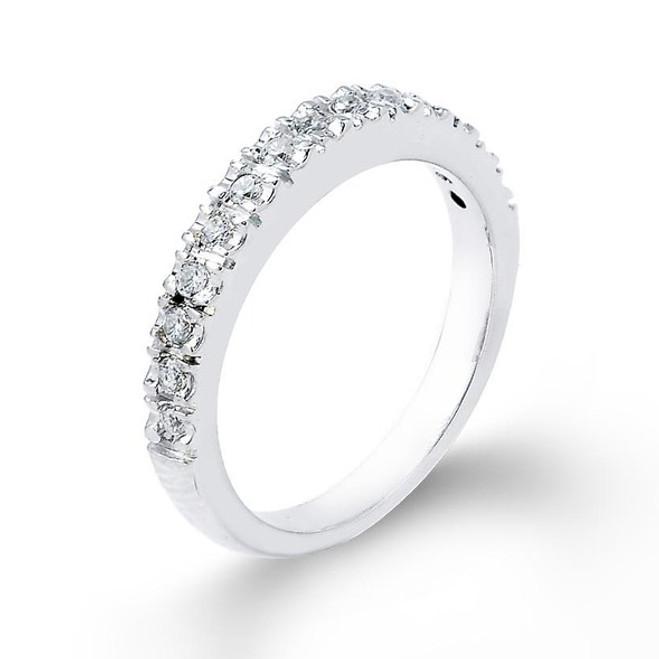 14k White Gold Diamond Studded Wedding Band