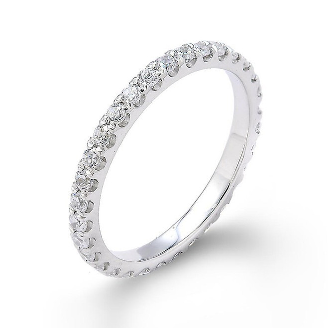 14k White Gold Diamond Studded Eternity Wedding Band