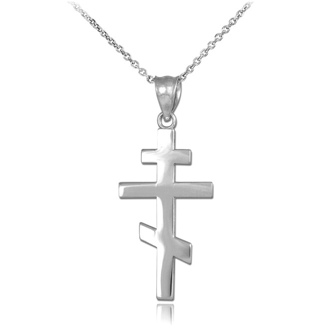 Sterling Silver Plain Russian Orthodox Cross Pendant Necklace