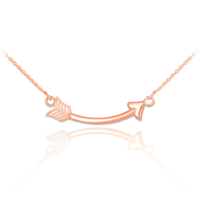 14k Rose Gold Sideways Curved Arrow Necklace