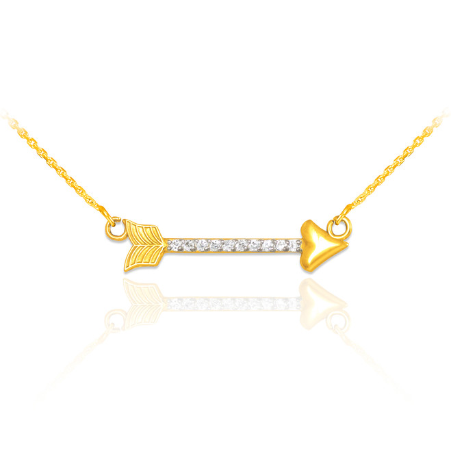 14k Gold Diamond Studded Arrow Necklace