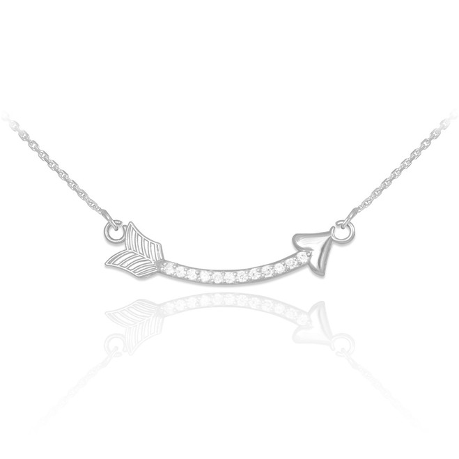 14k White Gold Diamond Studded Curved Arrow Necklace