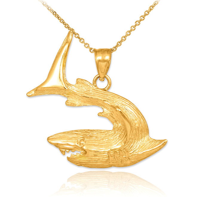 Textured Gold Shark Pendant Necklace