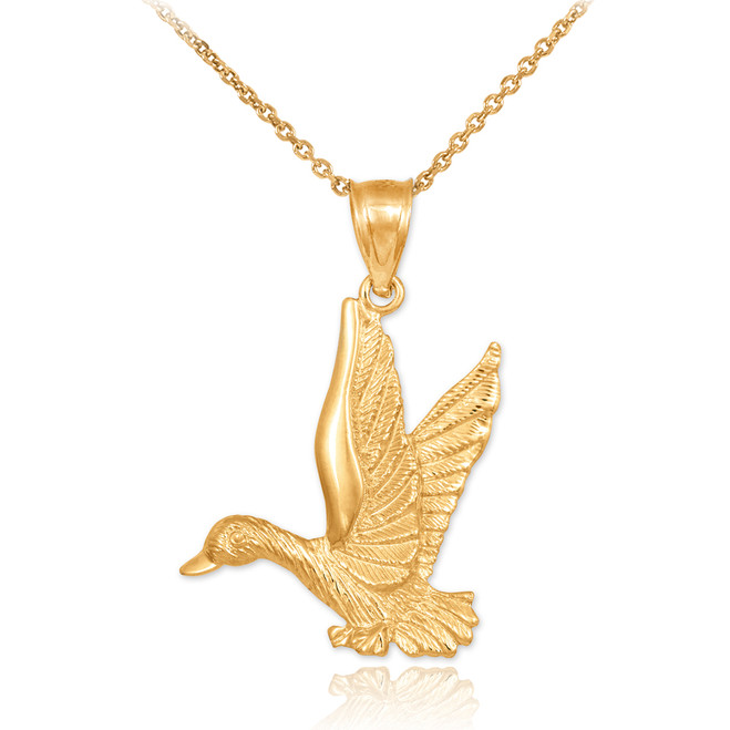Flying Duck Gold Pendant Necklace