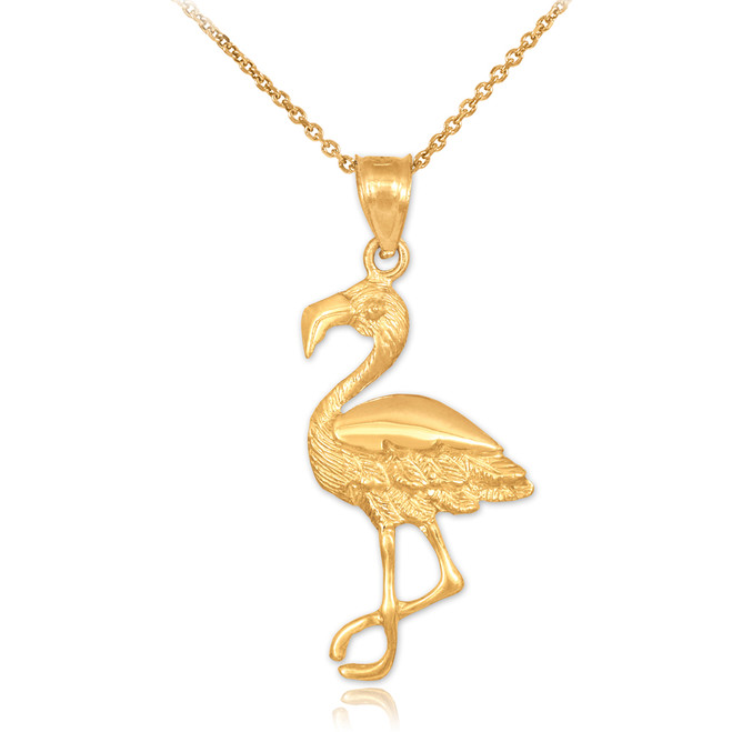 Gold Flamingo Pendant Necklace