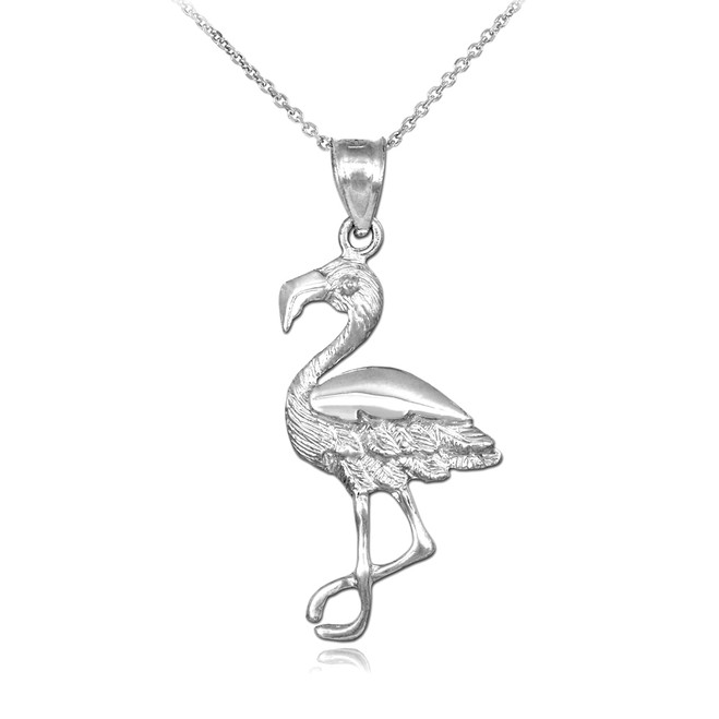 White Gold Flamingo Pendant Necklace