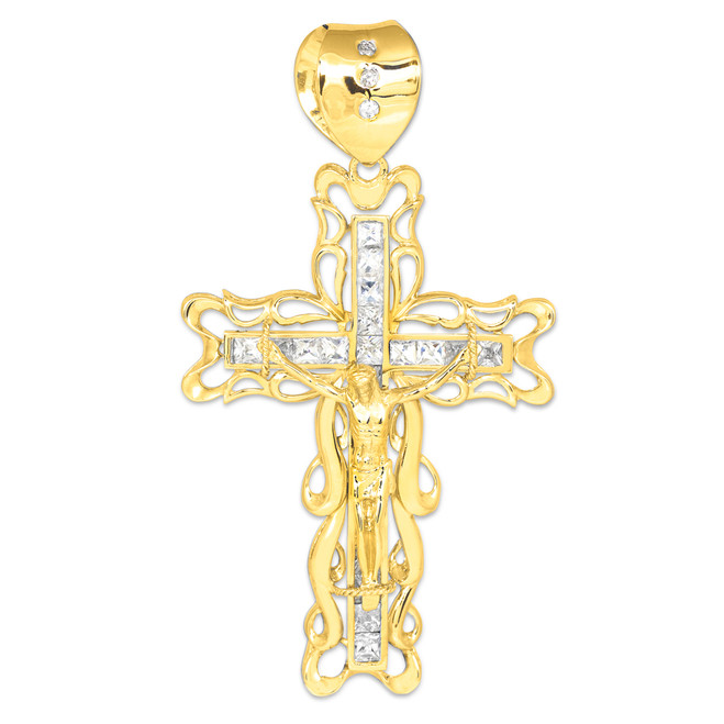 Extra Large gold filigree CZ crucifix pendant for men.