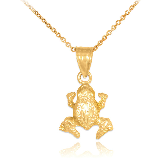 Textured Gold Frog Charm Pendant Necklace