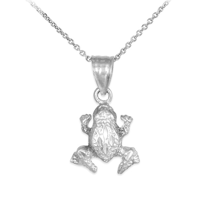 925 Sterling Silver Frog Charm Pendant Necklace