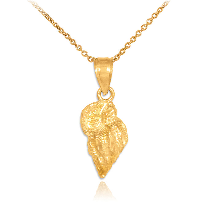 Gold Conch Shell Charm Pendant Necklace