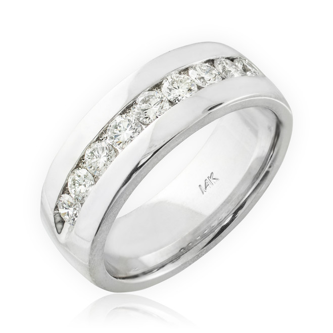14K White Gold Men's Diamond Wedding Band 8mm