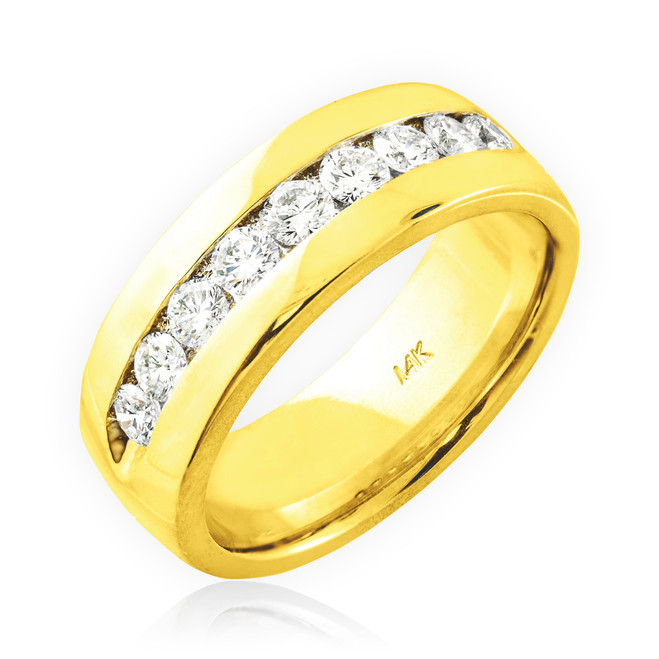 Men's gold diamond wedding  ring band