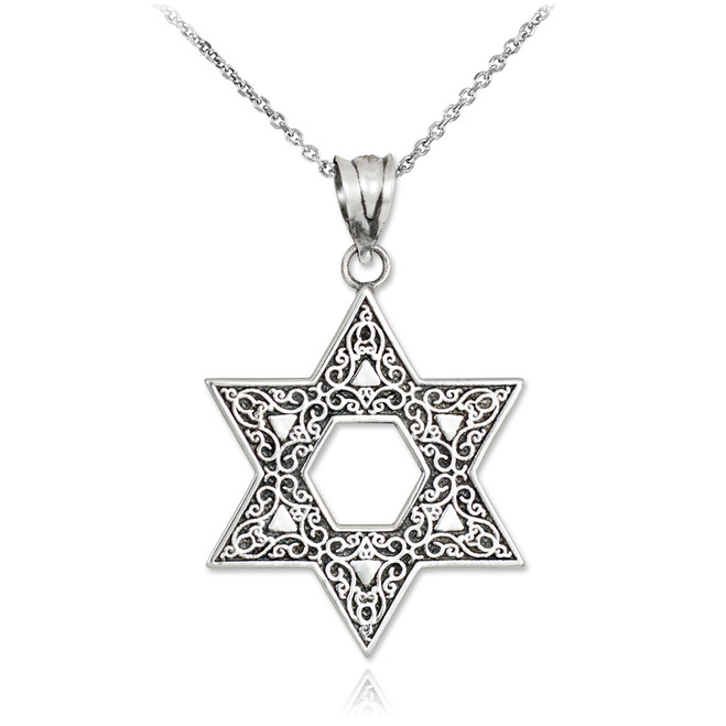 Vintage Oxidized Sterling Silver Star of David Ornament Pendant Necklace