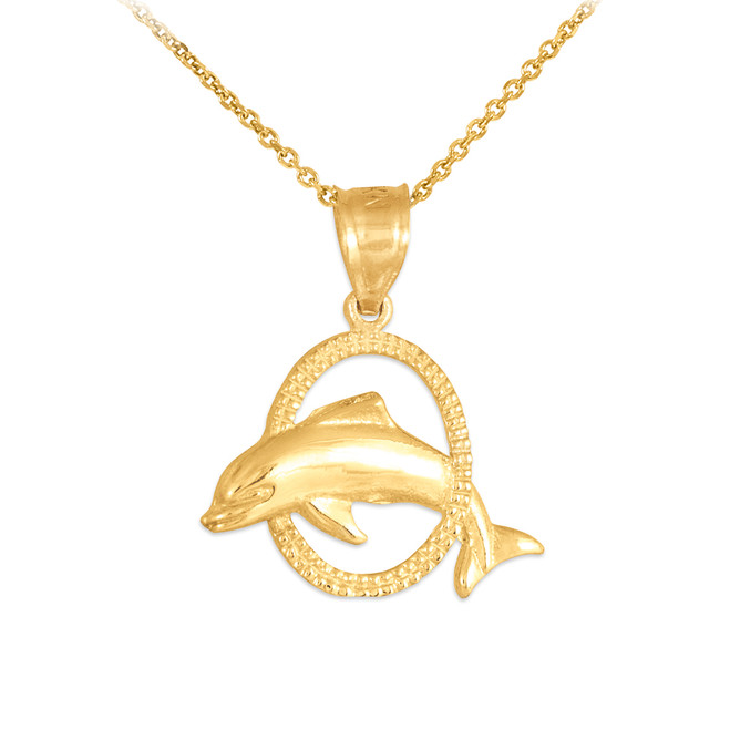 Gold Hoop Jumping Dolphin Charm Pendant Necklace