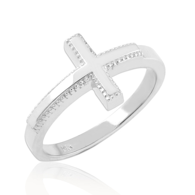 Solid Sterling Silver Sideways Cross Ring
