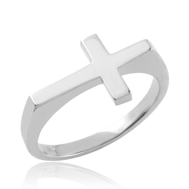 Solid Sterling Silver Flat Top Sideways Cross Ring