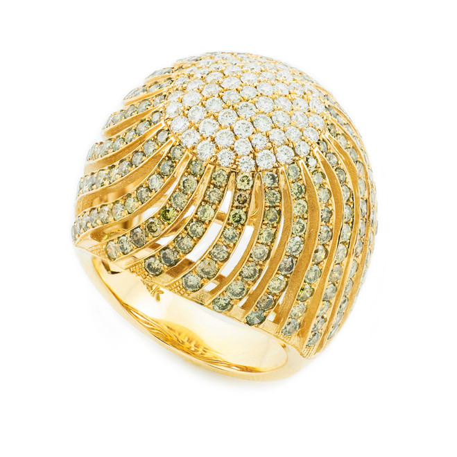 18K Yellow Gold Diamond Pave Cocktail Ring