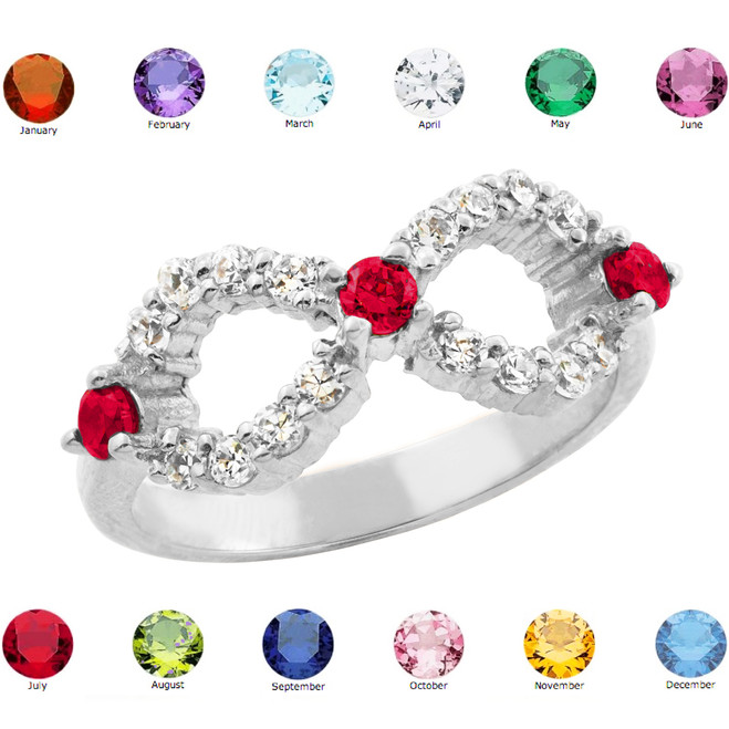 Sterling Silver Infinity Birthstone CZ Ring
