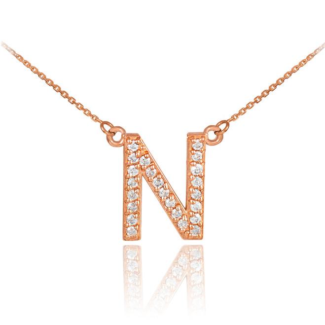 "14k Rose Gold Letter ""N"" Diamond Initial Monogram Necklace"
