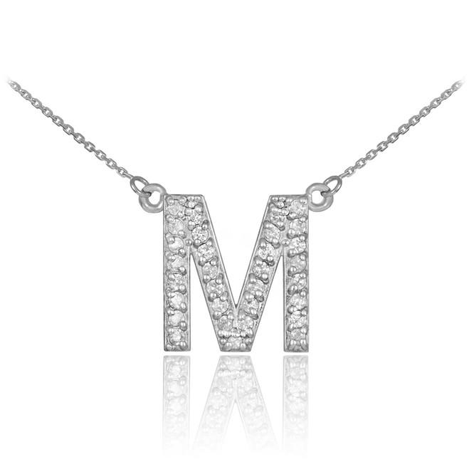 "14k White Gold Letter ""M"" Diamond Initial Monogram Necklace"