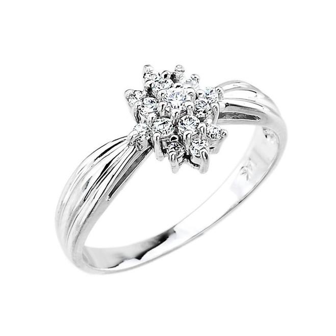 14k White Gold Cocktail Engagement Ring