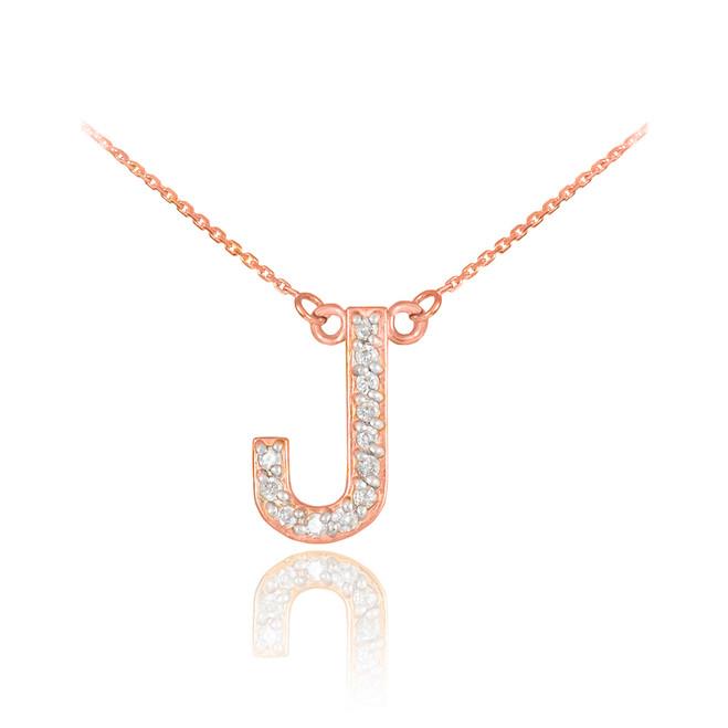 "14k Rose Gold Letter ""J"" Diamond Initial Necklace"
