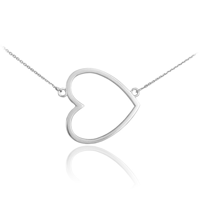 Sterling Silver Sideways Open Heart Necklace
