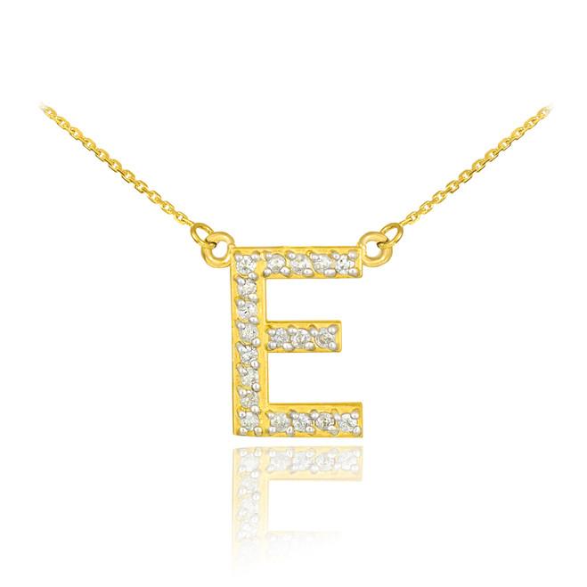 "14k Gold Letter ""E"" Diamond Initial Necklace"