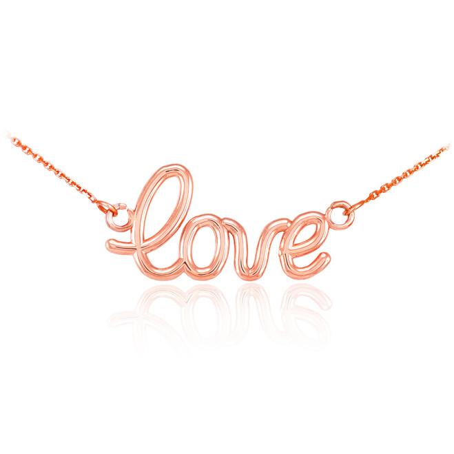 """14K Rose Gold """"Love"""" Script Necklace"""