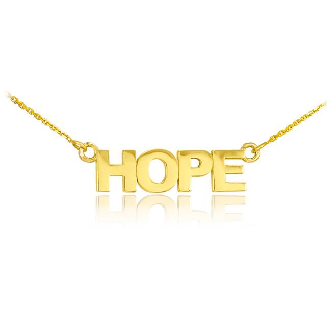 """14k Solid Gold """"HOPE"""" Script Necklace"""